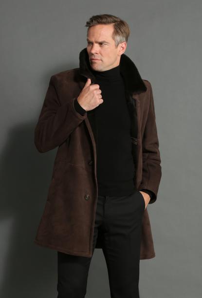 Agneau retourné veste homme